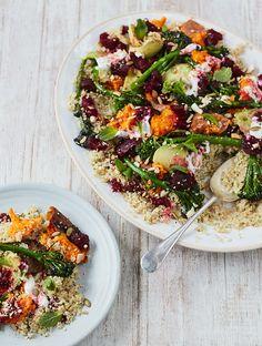 Jamie's Sweet Potato, Quinoa & Avo Crunch Salad With Balsamic Beets & Broccolini