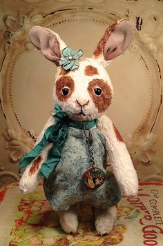Bunny rabbit Vintage style spotted hare Artist by FolkArtByPenny  This person has some talent. It reminds  me of the story of the Velveteen Rabbit. I am sure it is worth every penny she wants for it!