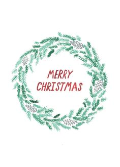 Etsy の Wreath Christmas Card by NatalieCandlish
