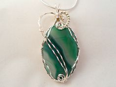 Wire Wrap Jewelry, Green Agate Pendant, Handmade by elainesgems, $23.50