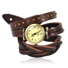 Dark Brown Cabochon Embellished Leather Band Watch    - The details include: a round face with Arabic numerals, triple-hand quartz movement, a crown to the o'clock, and a leather-look strap with a wrap around design, and buckle fastening. total 57.00 cm