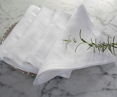 "Julia B. Bespoke Linens, Lyon Dinner Napkin, Tissue weight linen, 20""Sq  65"