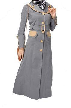 2 grey color Coat Abaya new collection jilbab Hijab Fashion gray color abaya - Gray Things Islamic Fashion, Muslim Fashion, Modest Fashion, Work Fashion, Fashion Design, Women's Fashion, Fasion, Kurti Sleeves Design, Abaya Designs