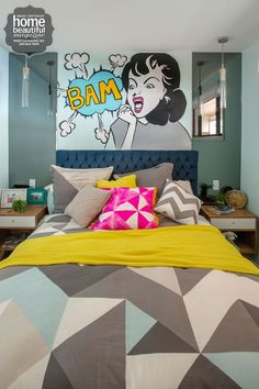 Bedroom Decor Adelaide rasch comic book pink wallpaper! would be fun in a small room on
