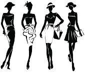 Blanco y negro estilo retro modelos de moda Estilo de dibujo