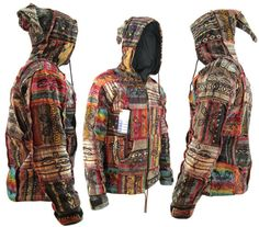this is soooo what mike was wearing when we met... hippie boho vintage retro cotton jacket hand knitted by LittleKtm