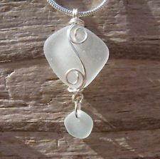 Very Pale Seafoem Genuine Caribbean Beach Sea Glass Pendant Necklace