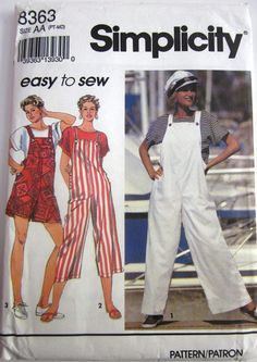 Simplicity 8363 Womens Jumpsuit or Overalls and Top by Denisecraft, $5.99