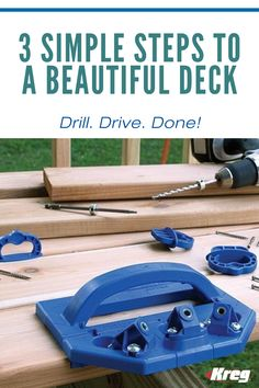 NOW ONLY $49.99! This concealed-fastening system works with Kreg Deck Screws so you can install decking without visible fasteners. All you see is the beauty of your decking instead of a bunch of screws. The Deck Jig features hardened-steel guides to drill precisely-positioned pilot holes, and to guide Deck Screws to attach decking from the edge solidly and invisibly. Works with solid-wood and composite deck boards. || #kregjig #deck #decking #diy #diyproject #woodworking #backyard #summer Kreg Deck Jig, Kreg Jig, Woodworking Furniture, Diy Woodworking, Wood Kiln, Composite Decking, Pocket Hole, Outdoor Projects