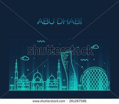 Abu Dhabi City skyline detailed silhouette. Trendy vector illustration, line art style.