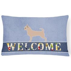 Carolines Treasures Chihuahua Welcome Outdoor Pillow - BB5554PW1216