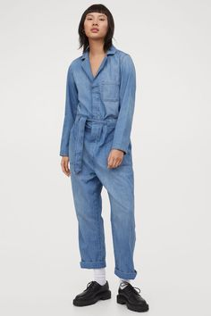 Boiler Suit, Lady Grey, Denim Jumpsuit, Belt Tying, Fashion Company, Blue Denim, Personal Style, Suits, Long Sleeve