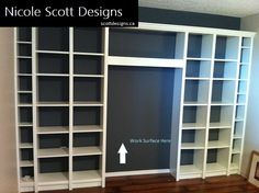DIY Office Inspired. Save money! A combination of  Billy and Benno bookcases from IKEA with crown molding and trim.