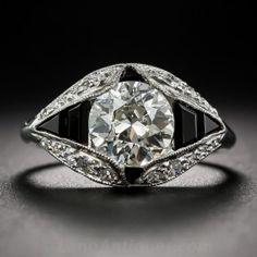 1.66 Carat Art Deco Diamond and Onyx Engagement Ring