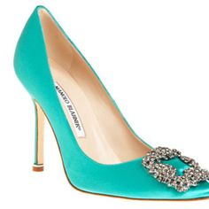 Manolo Blahnik; I've never seen these in teal before.