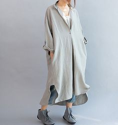 Women Loose Fitting linen Long dress/ Asymmetric gray by MaLieb
