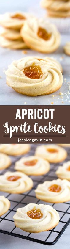 Apricot Spritz Cookie - Classic Italian sweets that delicately crumble in the mouth for instant bliss. These buttery cookies can be filled with any special fruit jam of your choice! via @foodiegavin