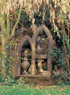 The elements of the gothic victorian garden can be used for the steampunk garden as well. Use rusted objects as sculptures tucked into the plants, urns overflowing with flowers are still a must, antique stone sculptures add ambiance, a sundial would do well in the right spot, and antique gadgetry could really up the wow factor of a garden.