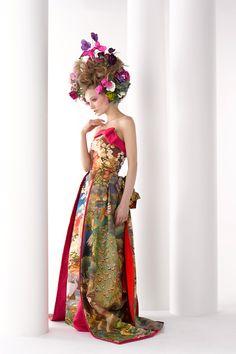 和ドレス・ウエディングドレスのドレスオーダー・レンタルドレスはアリアンサ 和ドレス・豪景 Modern kimono inspired wedding dress by Aliansa Japanese designer