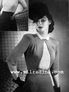 1940's Knitting - The Boulevard Jacket free pattern
