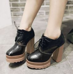 Vintage Womens Brogue Lace Up Platform High Block Heel Party Shoes Boots HOT   eBay