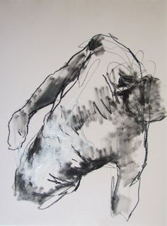 gesture figure drawing - from life - Drawing 56 - conte on paper - original drawing