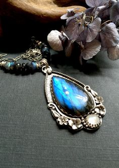 RESERVED  Blue flash labradorite and by CrawfordCreekDesigns