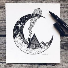 Pencil Drawings Illustration by Art And Illustration, Black And White Illustration, Ink Illustrations, Cool Art Drawings, Pencil Art Drawings, Drawing Sketches, Cool Drawings Tumblr, Doodle Drawings, Zentangle