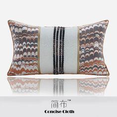 新中式橘黑色羽毛品凹凸纹加雅韵抱枕沙发样板房酒店别墅创意腰枕   pillow