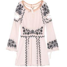 FOR LOVE AND LEMONS Niccola Nude // Embroidered mini dress ($230) ❤ liked on Polyvore featuring dresses, vestidos, boho dresses, v neck dress, pleated dresses, embroidered dress and short mini dress