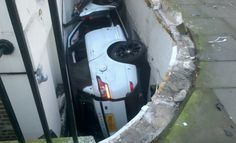 here not to park…$150,000 Range Rover left wedged in basement after embarrassing crash. Click to find out more.