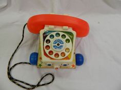 Vintage Fisher Price 1961 Wood Chatter Telephone Phone Pull Toy  #FisherPrice
