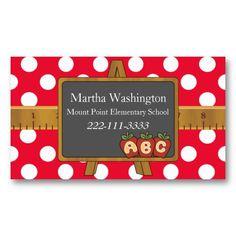 Polka Dots & Black Board Teacher's Business Card