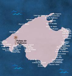 Die wichtigsten Städte, Buchten und Strände von Mallorca auf einer schön illustrierten Karte. Für einen besseren Überblick und Orientierung...