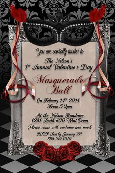 Valentine's Day Adult Masquerade Ball 4x6 Instant by WriteontheDot, $12.00