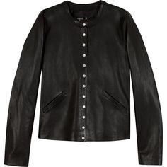 black leather snap cardigan