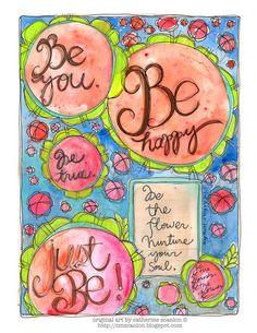 Be Happy Art Journal page by Catherine Scanlon http://cmscanlon.blogspot.com