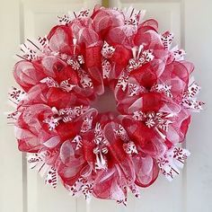 Large Candy Cane Red and White Deco Mesh Holiday Wreath | eBay