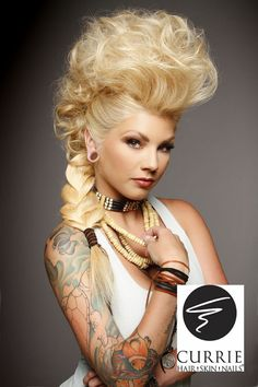 Blonde Mohawk Updo -Different Hairstyles Some other place. in another time. I wish I could do this just once with my hair Mohawk Hairstyles For Women, Hairstyles Haircuts, Wedding Hairstyles, Cool Hairstyles, Halloween Hairstyles, African Hairstyles, Avant Garde Hairstyles, Toddler Hairstyles, Blonde Hairstyles