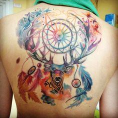 Умопомрачительной Ловец Снов Олень На Спине Татуировка