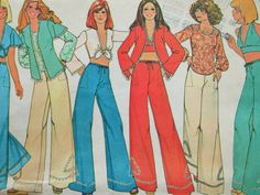 Vintage McCall's 4907 Sewing Pattern, 1970s Bell Bottoms, Pants Patterns, Halter Pattern, Bust 31.5, Jacket Pattern, Wide Legged Pants, 70s by sewbettyanddot on Etsy
