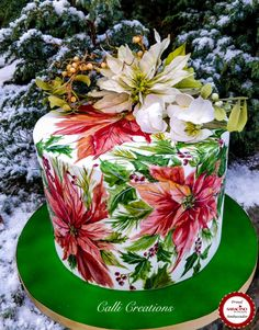 This Christmas has been wonderfully social with family gatherings plural …and catching up with friends..and a white Christmas here too, so what a lovely bonus. Another royal iced, boozy, rich fruit cake I did for the celebrations. Handpainted...