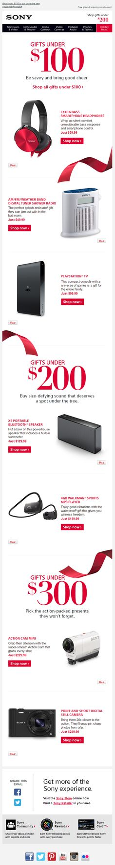 Great gift guide from Sony Holiday Emails, Mail Marketing, Gift Guide, Great Gifts, Landing, Sony, Amazing Gifts