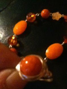 Orange ring I made to go with a bracelet I had..