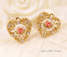 Chic Pink Rose Cameo & Crystal Rhinestone Brass Filigree Heart Charms 18x17mm - 2 by alyssabethsvintage on Etsy