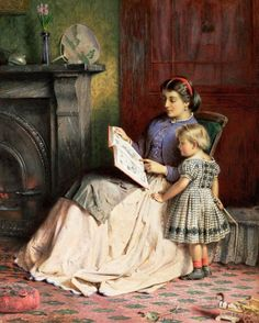 Hand painted reproduction of Mother and Daughter painting. This masterpiece was painted originally by George Goodwin Kilburne. Commission your beautiful hand painted reproduction of Mother and Daughter. Reading Art, Woman Reading, Reading People, Classic Paintings, Beautiful Paintings, Victorian Paintings, How To Read People, Illustration, Mother And Child