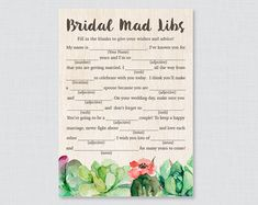 Succulent Bridal Shower Mad Libs Game - Printable Rustic Bridal Shower Madlibs - Trendy Green Cactus Succulent Bridal Advice Game Cards 0025