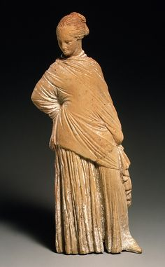 Statuette of a standing woman, late 4th–early 3rd century B.C.  Greek, probably Boeotian,   terracotta