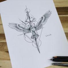 Inspirational Tattoos, Eagle Tattoos, Tattoos, Latest Tattoos, Falcon Tattoo, Rose Tattoos, Sword Tattoo, Arm Tattoos For Guys, Tattoo Designs