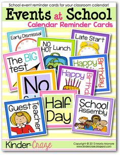 FREE DOWNLOAD - Events at School Classroom Reminder Cards